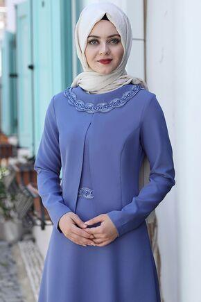 Bebe Mavi Ayliz Elbise - AHU15955 - Thumbnail