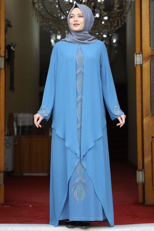 Amine Hüma - Bebe Mavisi Fulya Abiye - AMH16113