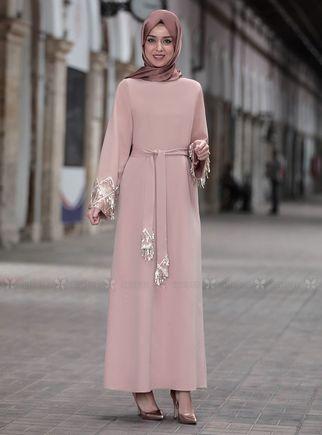 Emsale - Bej Duru Elbise - ES14443