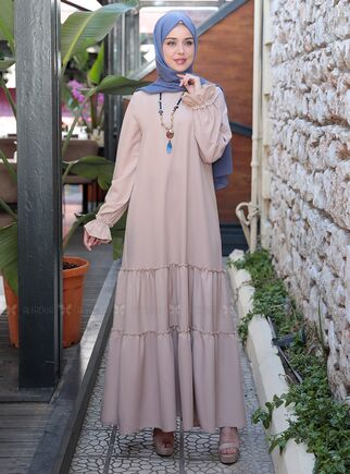 Emsale - Bej Kaktüs Elbise - ES15314