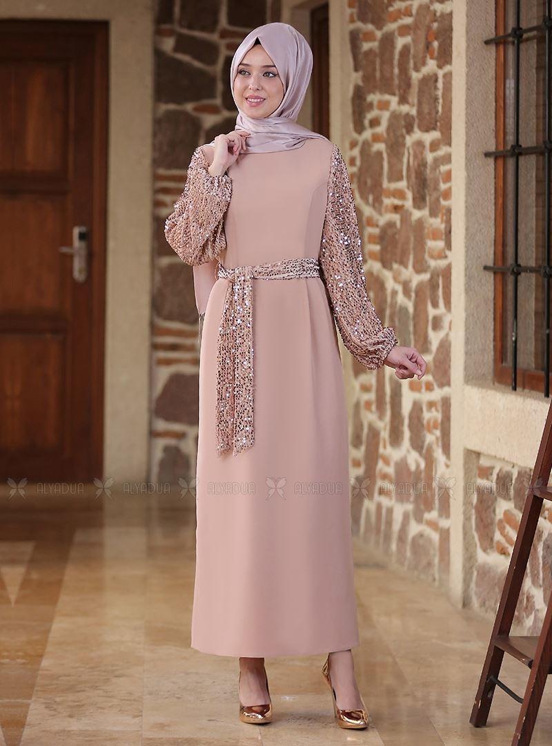 Emsale - Bej Nefes Elbise - ES14518