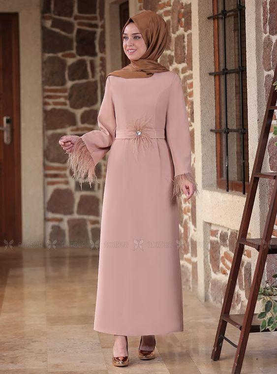 Emsale - Bej Tüy detaylı Elbise - ES14554