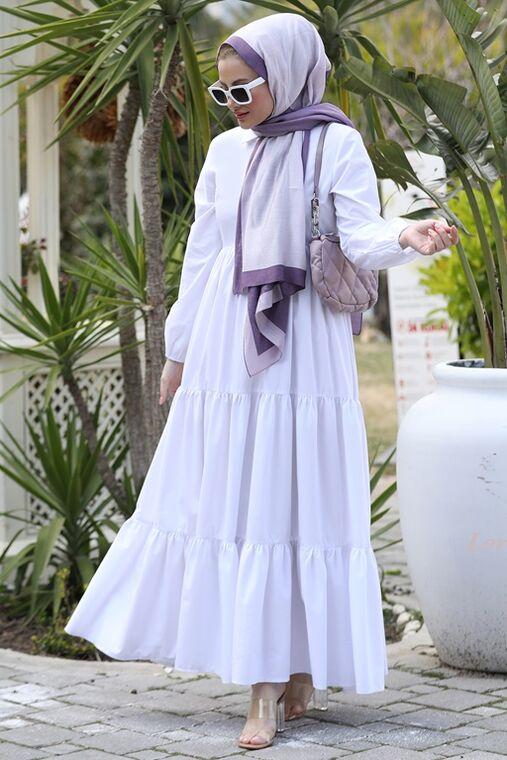 Seda Tiryaki - Beyaz Alaçatı Elbise - ST15897