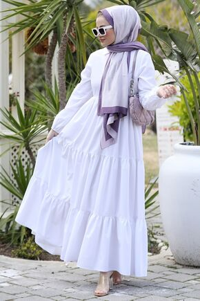 Beyaz Alaçatı Elbise - ST15897 - Thumbnail