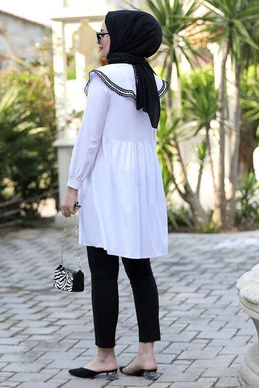 Beyaz Yakası Dantelli Tunik - ST15927