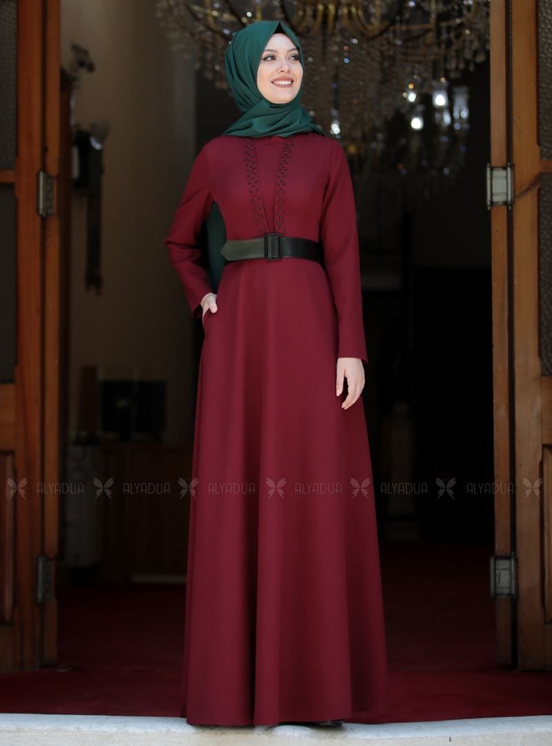 Semra Aydın - Bordo Ada İncili Elbise - SA142563