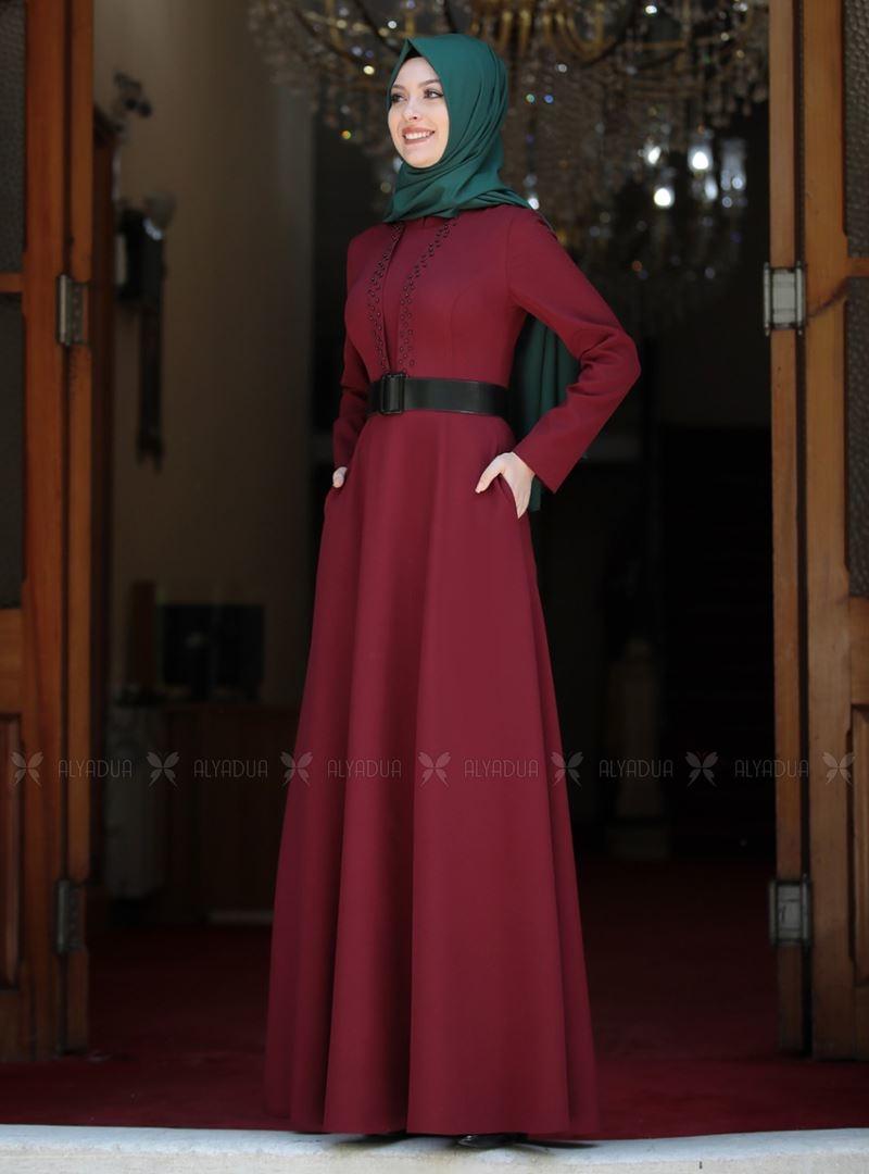 Bordo Ada İncili Elbise - SA142563