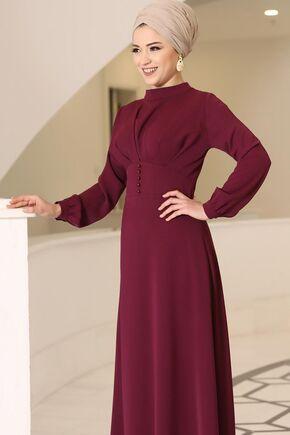 Bordo Ahsen Elbise - DL15801 - Thumbnail