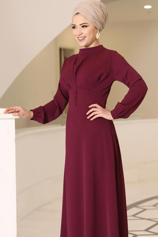 Dress Life - Bordo Ahsen Elbise - DL15801