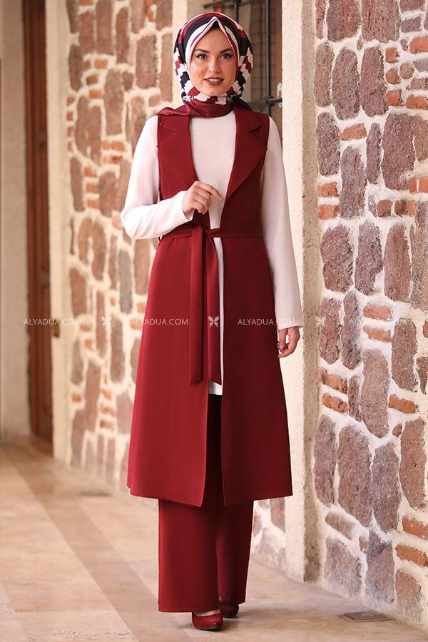 Alyadua - Bordo Asya Kap Pantolon İkili Takım - AD13965