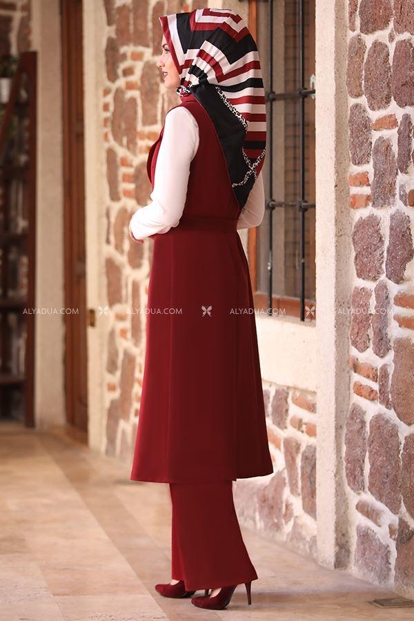 Alyadua - Bordo Asya Kap Pantolon İkili Takım - AD13965 (1)
