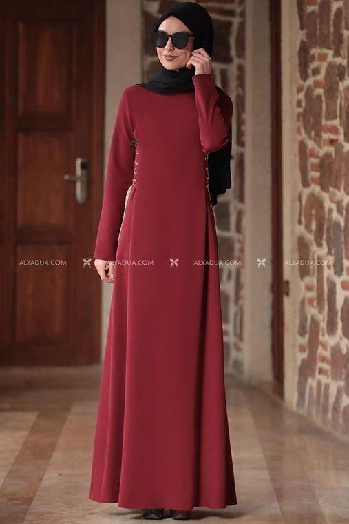 Rana Zenn - Bordo Beste Elbise - RZ12865