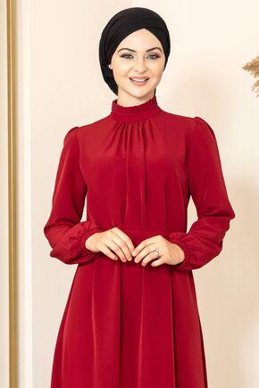 Bordo Büzgülü Elbise - FS15873 - Thumbnail