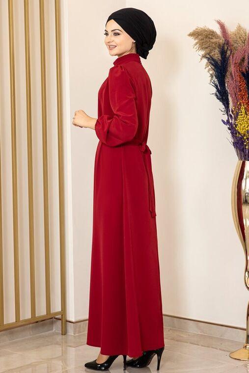 Bordo Büzgülü Elbise - FS15873