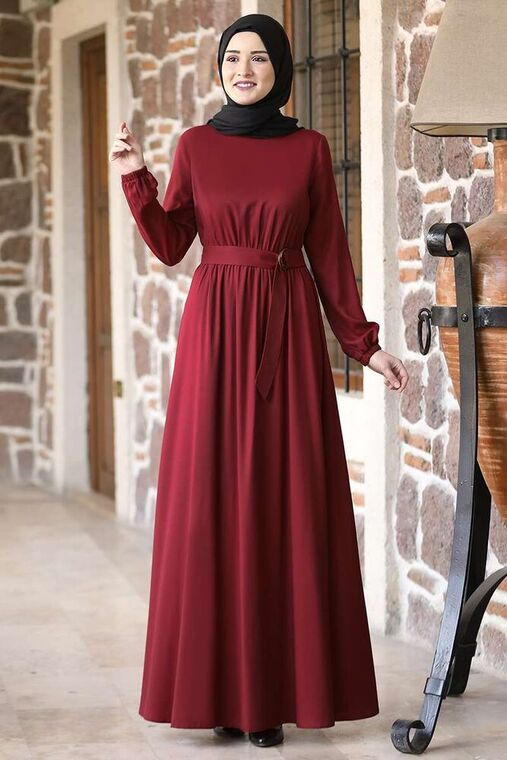 Rana Zenn - Bordo Ceren Elbise - RZ15825