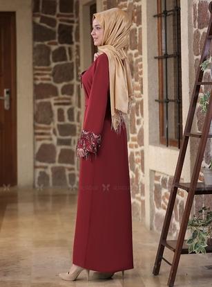 Bordo Duru Elbise - ES14588 - Thumbnail