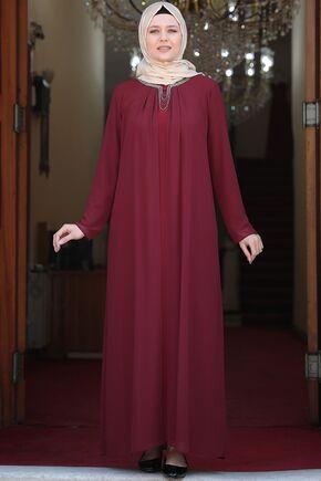 Bordo Esma Elbise - AMH16102 - Thumbnail