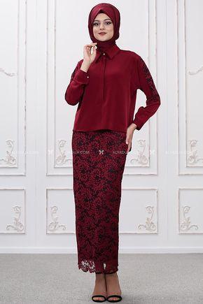 Som Fashion - Bordo Etek Bluz Takım - SF12036