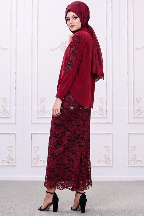 Som Fashion - Bordo Etek Bluz Takım - SF12036 (1)