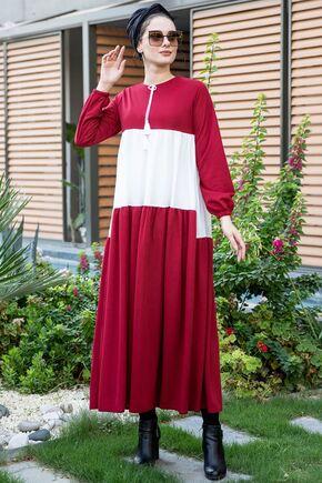 Selma Sarı - Bordo Farah Elbise - SES15380