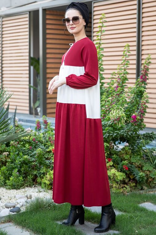 Bordo Farah Elbise - SES15380
