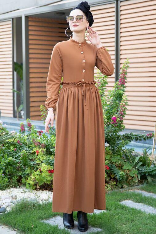 Selma Sarı - Taba Fırfırlı Elbise - SES15390