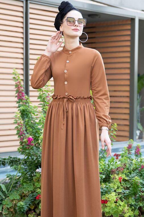 Taba Fırfırlı Elbise - SES15390