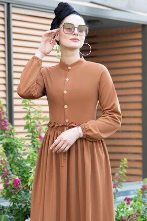 Taba Fırfırlı Elbise - SES15390 - Thumbnail