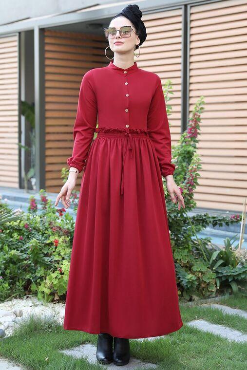 Selma Sarı - Bordo Fırfırlı Elbise - SES15389