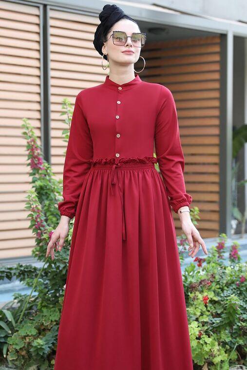 Bordo Fırfırlı Elbise - SES15389