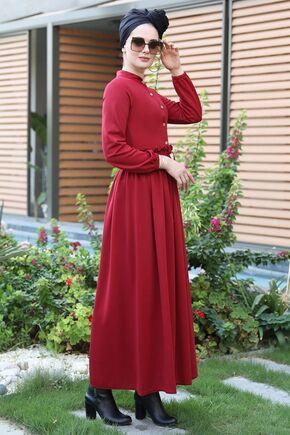 Bordo Fırfırlı Elbise - SES15389 - Thumbnail