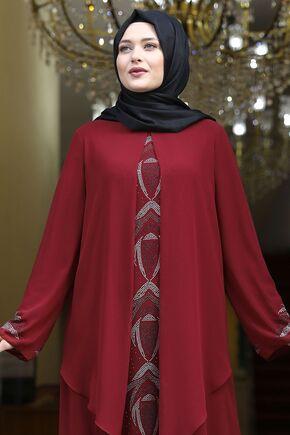 Bordo Fulya Abiye - AMH16114 - Thumbnail