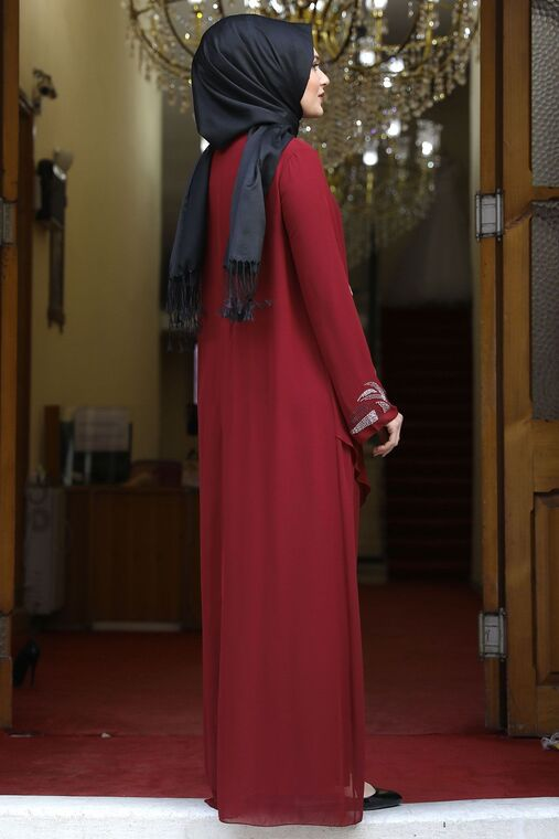 Bordo Fulya Abiye - AMH16114