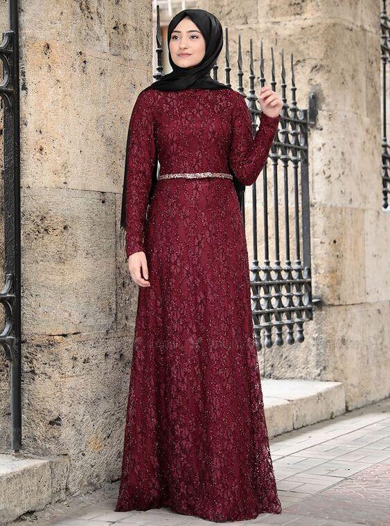Rabeysa - Bordo İpek Elbise - RS15021