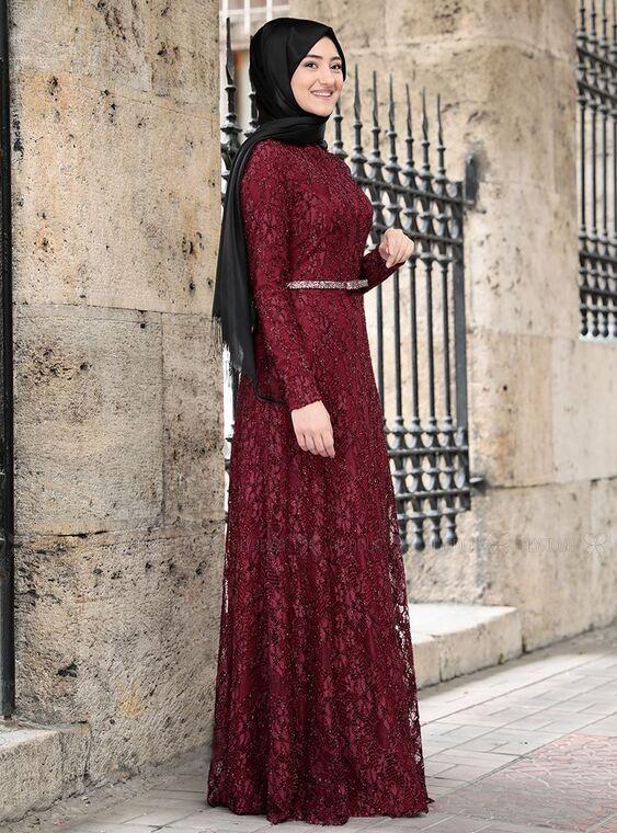Bordo İpek Elbise - RS15021
