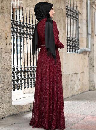 Bordo İpek Elbise - RS15021 - Thumbnail