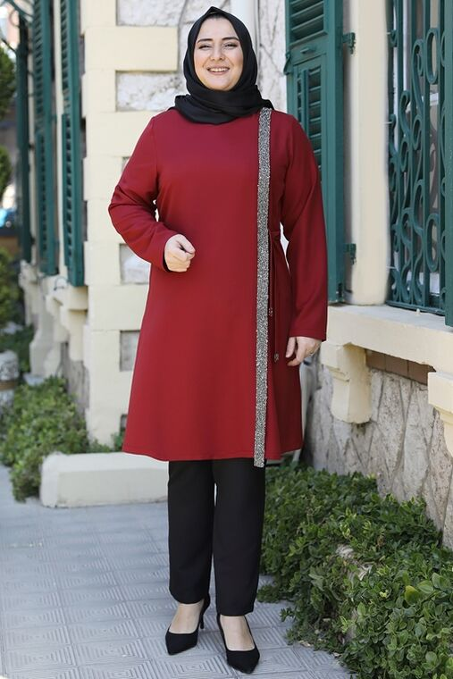 Emsale - Bordo İpek Tunik - ES15939