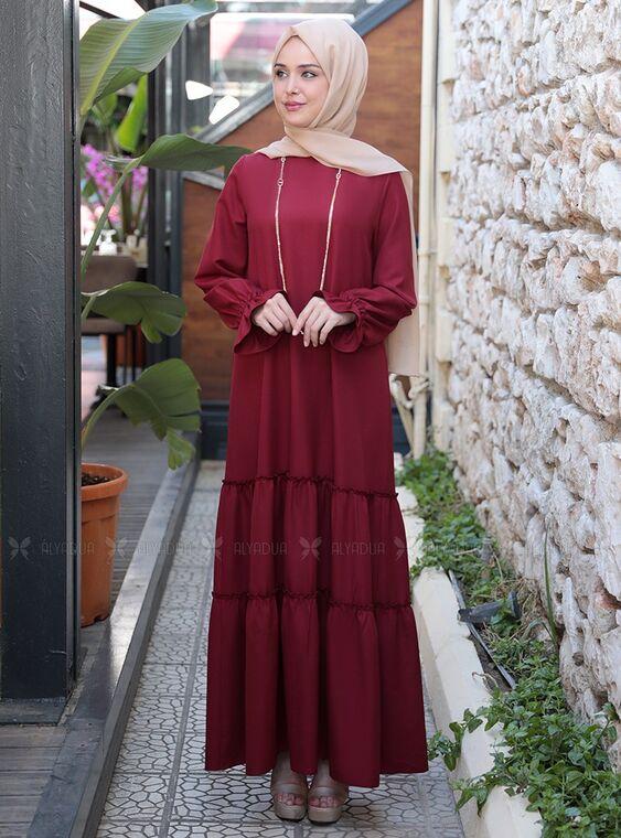 Emsale - Bordo Kaktüs Elbise - ES15313
