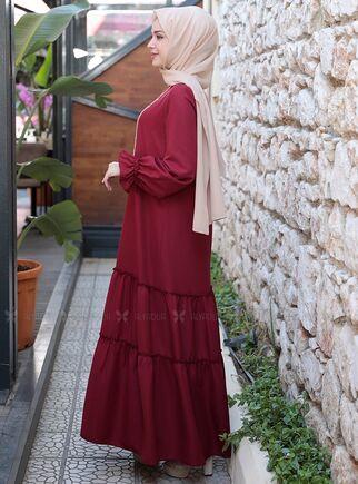 Bordo Kaktüs Elbise - ES15313 - Thumbnail
