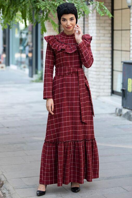 Piennar - Bordo Kareli Ekose Elbise - PN15474