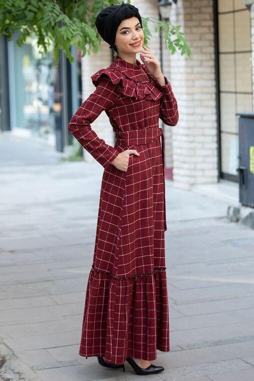 Bordo Kareli Ekose Elbise - PN15474