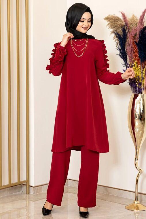 Fashion Showcase - Bordo Kolu Fırfırlı Takım - FS15843