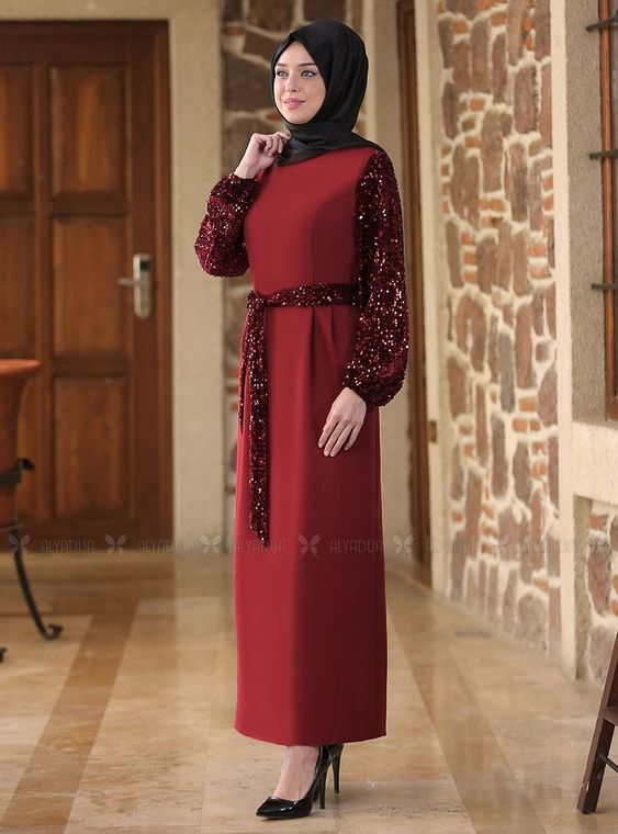 Emsale - Bordo Nefes Elbise - ES14520