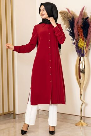 Fashion Showcase - Bordo Nervürlü Uzun Tunik - FS15851
