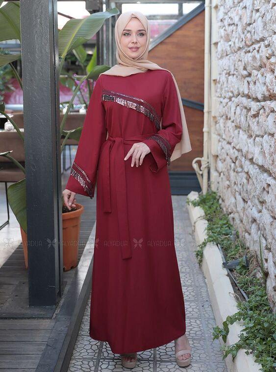 Emsale - Bordo Püskül Şeritli Elbise - ES15161
