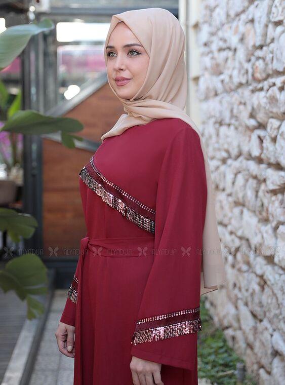 Bordo Püskül Şeritli Elbise - ES15161