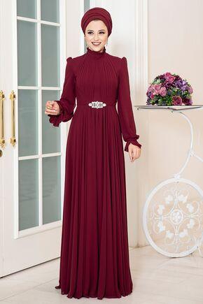 Dress Life - Bordo Rüya Şifon Abiye - DL16229