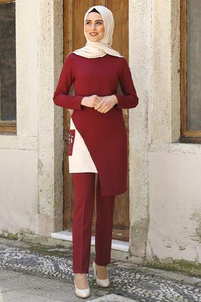 Nidya Moda - Bordo Şehrazat İkili Takım -NM16050
