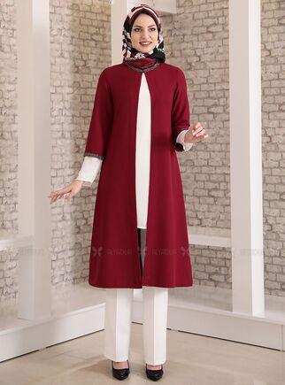 Fashion Showcase - Bordo Taş Detay Üçlü Takım - FS15026