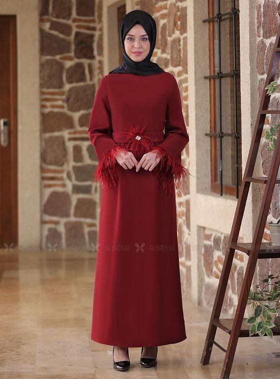 Emsale - Bordo Tüy detaylı Elbise - ES14556